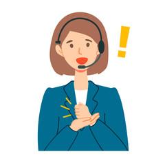 コールセンターオペレーター女性のひらめきイラスト