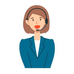 コールセンターオペレーター女性の上半身イラスト