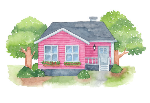 Pink american house watercolor drawing, isolated