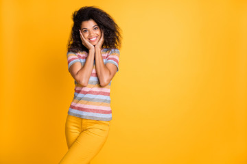 Portrait of her she nice attractive glad cheerful cheery wavy-haired girl wearing striped tshirt...