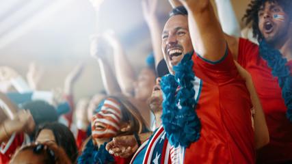 American soccer fans cheering their team in stadium