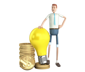 profitable idea concept cartoon man holding a light bulb standing on coins 3d render on white no shadow