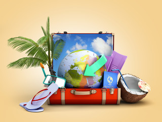 modern summer travel concept suitcase with a globe inside near accessories for summer holidays 3d render on color gradient