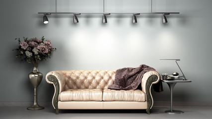simple room interior render presentation with white leather sofa  3d render image