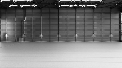 empty Hangar wall delivery warehouse 3d render background