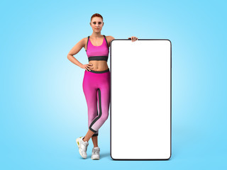 fitness app concept girl in sportswear is standing next to the phone whith empty screen 3d render on blue gradient