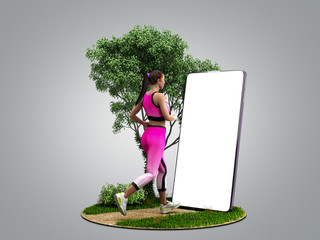 fitness app concept girl runs on nature looking into the phone screen 3d render on grey gradient