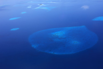 Aerial view of tropical coral reefs