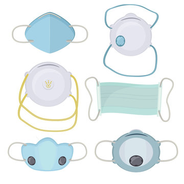 Pollution mask. Hospital protection respiration masking face industrial air breath vector cartoon collection. Medical mask again pollution for hospital illustration