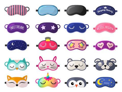Sleeping mask. Funny clothes for sleepover rest relax night accessories vector collection. Mask comfort wear, protection sleeping illustration