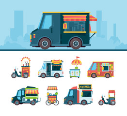 Food truck set. Delivery cars festival transport hawkers products cuisine on street fast food truck vector flat pictures. Car transport, truck food service, festival street illustration