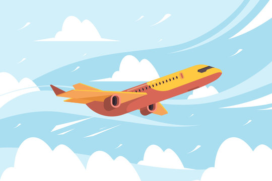 Airplane in sky. Flying civil aircraft transport in clouds vector flat background. Plane fly sin sky clouds, airplane flight transportation illustration