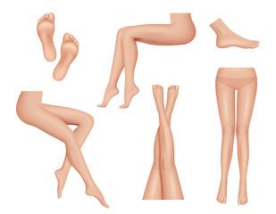 Woman legs. Beauty foot heel healthy skin anatomy human body parts vector realistic collection. Foot skin woman, lady seductive leg illustration