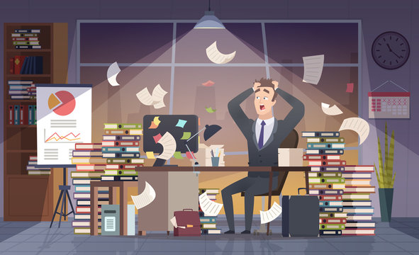 Busy businessman. Office manager hard work deadline stress chaos interior vector cartoon concept. Businessman busy, workplace office, employee chaos working illustration