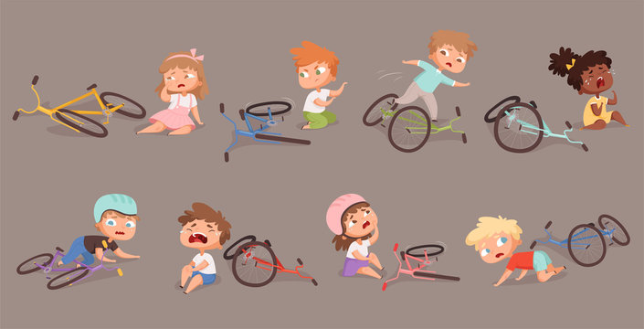 Broken bicycle. Kids fallen from bike unhappy childrens vector accidents illustrations. Bike damaged variation, crash and trouble