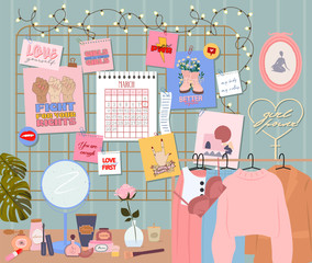 Stylish modern comfy apartment furnished. Feminine mood board, clothes, desk with cosmetics, books, home decorations and home plants. Scandinavian hygge style Interior. Flat vector illustration