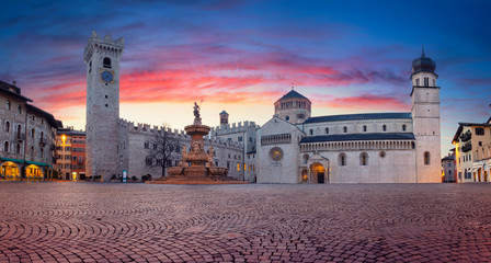 Trento, Italy. Panoramic cityscape image of historical city of Trento, Trentino, Italy during beautiful sunrise.