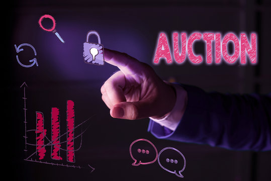 Writing note showing Auction. Business concept for Public sale Goods or Property sold to highest bidder Purchase