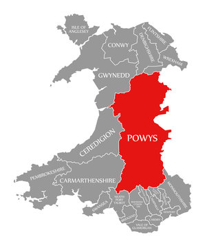 Powys red highlighted in map of Wales