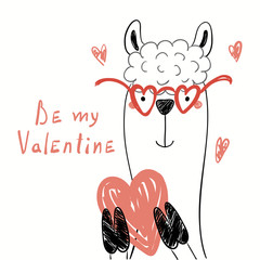 Hand drawn vector illustration of a cute funny llama in glasses, holding a heart, with text Be my Valentine. Isolated objects on white background. Line drawing. Design concept for kids card, invite.