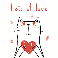 Deurstickers Illustraties Hand drawn vector illustration of a cute funny cat holding a heart, with text Lots of love. Isolated objects on white background. Line drawing. Design concept for kids Valentines day card, invite.
