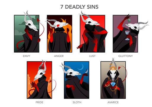 Seven deadly sins set. Christian bible character. Anger, envy, lust