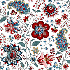 Chintz seamless pattern. Floral background. Indian Fabric with red and blue flowers