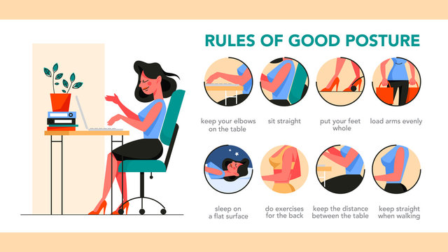 How to get a good posture infographic. Correct pose