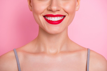 Close up cropped photo of cheerful girl visit dental medical clinic have implantology procedure veneers enjoy her teeth strong white fresh breathing isolated over pink color background Fototapete