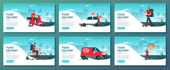 Food delivery web banner set. Online delivery concept.