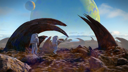 astronauts exploring alien planet landscape, strange rock formations on the surface of an exoplanet