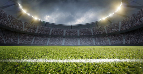 Wall Mural - Stadium, an imaginery stadium is modelled and rendered.