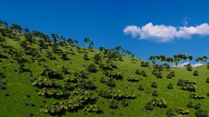 Jungle hills in Okinawa, Japan 3d rendering