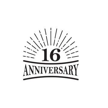 16th year celebrating anniversary emblem logo design