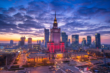 Photo sur Aluminium New York view of the palace of culture in the Polish capital Warsaw