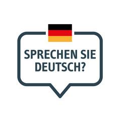 Fototapeta Speech bubble sprechen sie deutsch - Vector Illustration - do you speak german? - banner german flag symbol and speech bubble obraz