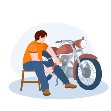 Mechanic Repairing Motorcycle vector illustration from hobbies collection. Flat cartoon illustration isolated on white