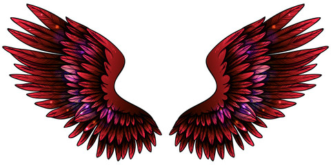 Beautiful magic bright shiny glittery red pink wings, hand drawn vector