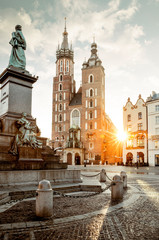 Tuinposter Krakau Adam Mickiewicz monument and St. Mary's Basilica on Main Square in Krakow, Poland