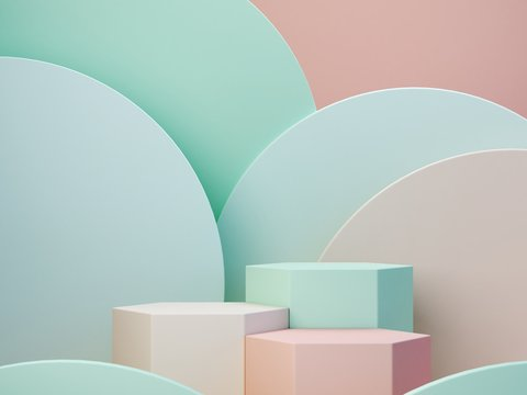 Pastel colors shapes on green pastel colors abstract background. Minimal  boxes podium. Scene with geometrical forms. Empty showcase for cosmetic product presentation. Fashion magazine. 3d render.