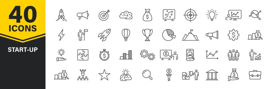 Set of 40 Start up web icons in line style. Creative, idea, target, innovation, business, marketing. Vector illustration.