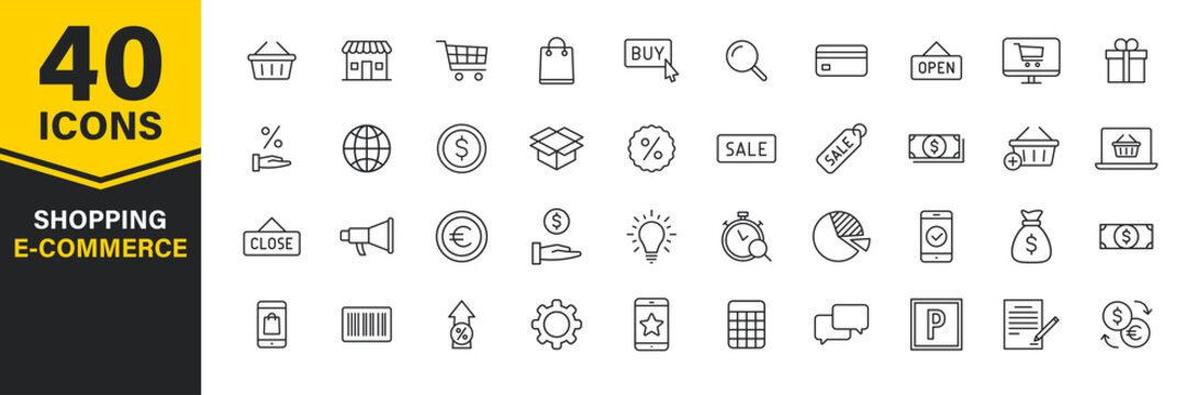Set of 40 E-commerce and shopping web icons in line style. Mobile Shop, Digital marketing, Bank Card, Gifts. Vector illustration.