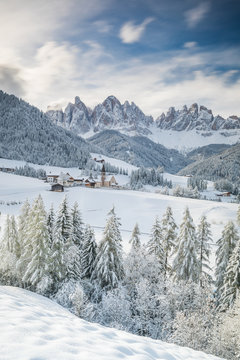 Santa Maddalena village in Val di Funes one of the most beautiful valleys Dolomite in the winter