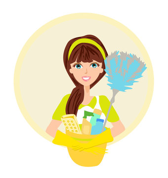 Beautiful smiling maid, cleaning company icon