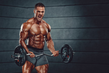 Strong Handsome Bodybuilder Lifting Weights. Copy Space