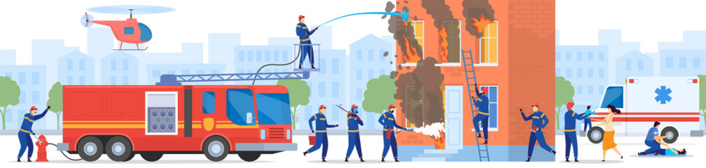 Foto auf AluDibond Cartoon cars Firefighter team rescue people from burning house, vector illustration. Firemen cartoon characters in uniform, ambulance car emergency service. Firefighters and doctor help people emergency situation