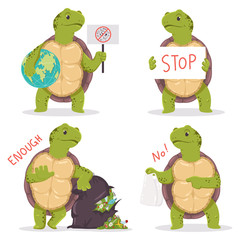 Plastic pollution vector concept characters with cartoon turtle and garbage.