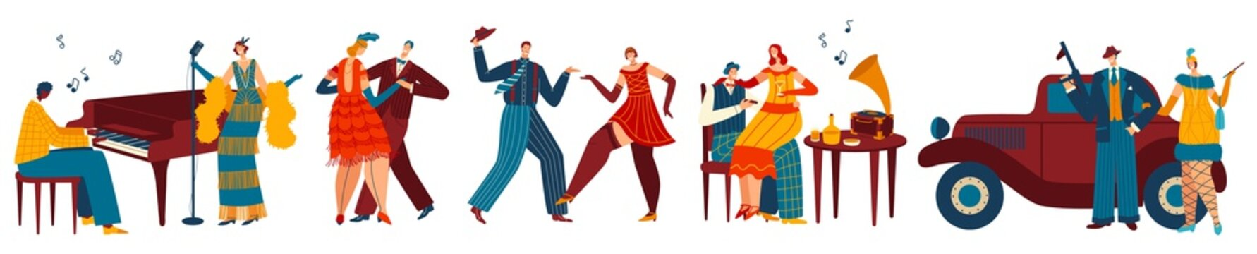 Dancing people in retro style, gangster party vector illustration. Cartoon characters in art deco fashion, dancers and singer at restaurant. Men and women dance to jazz music, mafia style party