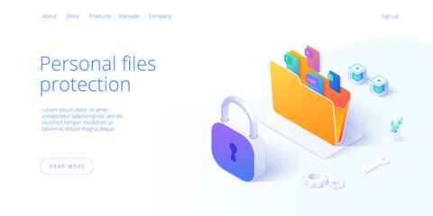Personal data security in isometric vector illustration. Online file server protection system concept with folder and lock. Secure information transfer background template for web banner. - fototapety na wymiar