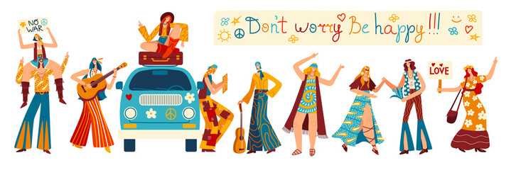 Hippie cartoon characters, happy people in retro clothes, vector illustration. Peaceful lifestyle of hippie culture, girl sitting on retro van, men and women dancing and playing guitar, isolated set